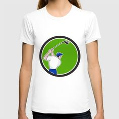 Golfer Swinging Club Circle Cartoon T-shirt. Illustration of a golfer playing golf swinging club tee off viewed from back rear set inside circle on isolated background done in cartoon style. #illustration #GolferSwinging
