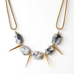 Grey Feldspar and Gold Spike Necklace with Brass Heishi Disc Beads on a Vintage Brass Snake Chain