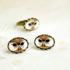 Owl Look  Stud Earrings animal bird jewelry gift by Nechegonadet, $19.00