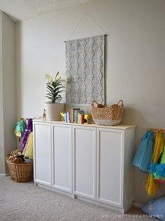 Cabinets in Playroom - like the idea of having closed storage. Living Room Toy Storage, Playroom Storage, Kid Toy Storage, Storage Spaces, Small Playroom, Playroom Ideas, Comfortable Pillows, Toy Rooms, Dining Room Design