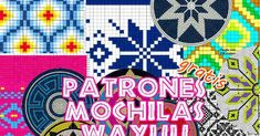 Patrones para tejer mochilas Wayuu en la técnica Tapestry, para la base de la mochila, que es redonda, y para el cuerpo de la mochila Wayuu...