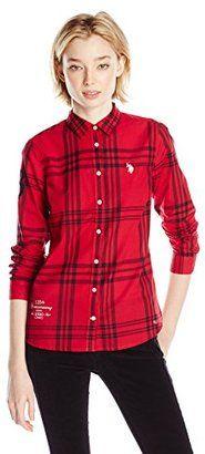 U.S. Polo Assn. Junior's Plaid Poplin Woven Sport Shirt - Shop for women's Shirt - Crimson Shirt