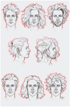 Long Hair Drawing, Guy Drawing, Drawing People, Figure Drawing, Drawing Sketches, Art Drawings, Drawing Male Hair, Drawing Men Face, Hair Styles Drawing