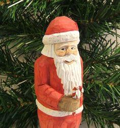 Handmade Santa Claus Wood Carving Unique von ClaudesWoodcarving