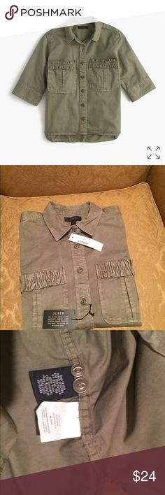 J. CREW NWT Shirt 4 P Military green, COTTON NEW! J. CREW Brand NEW WITH TAGS.  Size 4 Petite, Military green, cotton.  Christmas 2017 gift that didn't fit.  Purchased for granddaughter, but too small.  Nearest J. Crew is 3 hours away, so I'm offering it on Poshmark.  Check out photos.  Slightly longer in back.  Descriptive info and some photos from the J. Crew website.  This was not from the Factory (outlet) Store!  No smoking and no pet home! J. Crew Tops Button Down Shirts
