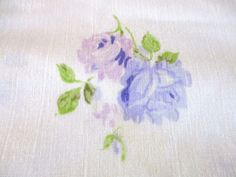 Vintage JCP Double Full Flat Bed Sheet Shabby Cottage Purple Flowers Lace Edging