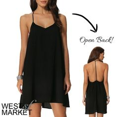 -SOLD OUT- T-Strap Backless Dress Black swing dress with spaghetti straps and an open back! PLEASE COMMENT TO BUY THIS LISTING with the SIZE you would like, I will make a separate listing for you! West Market SF Dresses Mini
