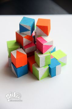 Challenge your kids with the Neon Block Puzzle.   An Original #kids #craft by www.piikeastreet.com #piikeastreet