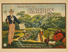 Garden to cut food costs - vintage poster https://www.etsy.com/listing/70067960/world-war-1-poster-garden-to-cut-food? #unclesam