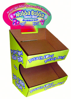 Corrugated Hubba Bubba display   Point of Purchase   Point of Sale   POSM   POP   POS   Custom Display   Store Fixture   Retail Design   Visual Merchandising   Made in the USA