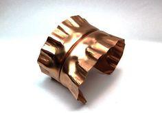 Ruffled Copper Foldform Cuff Satin Finish by SnazzyTrinkets,