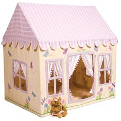 Butterfly-Fabric-Playhouse-in-Pink.jpg - yellow butterfly tent for girls - indoor fabric tent / playhouse
