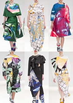Minnan Hui A/W 15/16  Minnan_Hui_Group_AW1516_London_Catwalk_Vogue 80's Bold Pattern – Rope Print – Colour Blocked Pattern – Black & White Geometry – Over-scaled Prints – Brights & Contrasting Monochrome – Snaking Embellishments