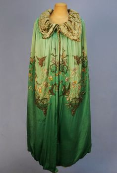 Beaded and Embroidered Silk Evening Cape c. 1920s