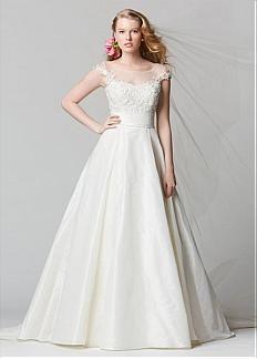 Graceful Taffeta & Tulle A-line Bateau Neckline Natural Waistline Wedding Dress