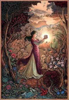 fairy tale art of forest,lady and hart - Google Search