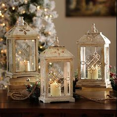 Antique Cream Wood Lantern 16 75 in Kirkland s Marisa Bunney Love these These would be bigger And they re more Ivory than white
