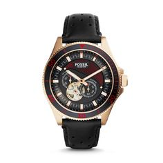 New for the holidays, Wakefield's precise performance lies within the intricate skeleton movement and durable case design. A striking rose gold-tone case houses a jet-black dial with bright red accents, all offset by a perforated black leather strap.