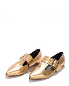 141cb47f3ac2 Sale! 30% Off! -Gold flat pointed shoes- Gold Leather Shoes -
