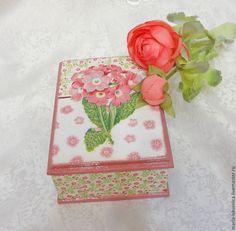 """Купить Шкатулка """"Примула"""" - розовый, Примула, шкатулка, шкатулка для украшений, шкатулка декупаж"""