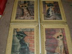 Vintage 1970's big-eyed PITY KITTY art prints.