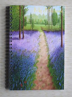 From my Bluebells With Butterflies Painting a Spiral Bound Notebook by Julia Underwood, available on Esty