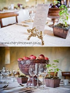 Rustic, herbs, fruit and fynbos as centrepieces
