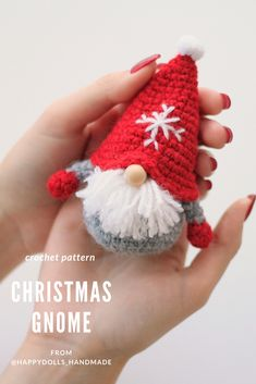 CROCHET PATTERN Mini Christmas Gnome, Amigurumi toy, home decor Always aspired to figure out how to knit, yet not certain where do you start? This specific Total Beginner Knitting Line. Crochet Toys Patterns, Amigurumi Patterns, Stuffed Toys Patterns, Crochet Christmas Decorations, Christmas Gnome, Xmas, Amigurumi Toys, Handmade Toys, Crochet Hooks