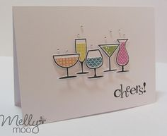 Love this fun Cheers Party Card by Mellymoo using Stampin Up Happy Hour stamp set.