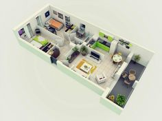 Of course, not every two bedroom apartment needs the same amount of space. This smaller option has just one bedroom and an al fresco dining area.
