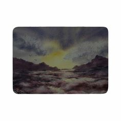 "Cyndi Steen ""Crashing Waves"" Purple Yellow Memory Foam Bath Mat"