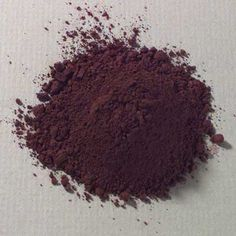 Hematite, Cold (Caput Mortum)  Cold Hematite is a ferric oxide mineral of dark reddish purple hue. We make our cold hematite from iron ore deposits in Kirov Rog, Russia. It is a lustrous pigment of considerable tinting strength and opacity