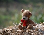 amigurumi bear handmade plushie bear with red bow, crochet bear doll for children, sitting bear, stuffed soft toy, nonalergic nursery art