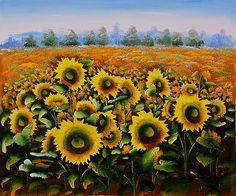 Wild Sunflowers - Oil Painting