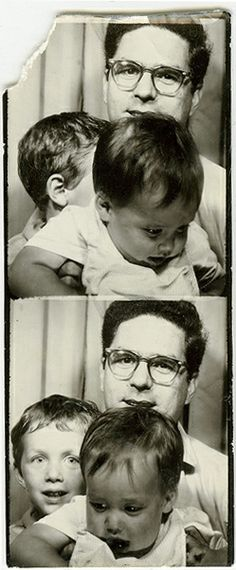 +~ Vintage Photo Booth Picture ~+  Father with squirming kids
