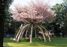 Behold the ultimate tree house! What: The Patient Gardener project using ten Japanese cherry trees Where: School campus in Milan, Italy Who: Designed by Swedish architects Visiondivision Why: A two-story treehouse study retreat for students. The vision: a Dream Garden, Garden Art, Garden Plants, Garden Design, House Design, Japanese Cherry Tree, The Secret Garden, Dame Nature, Plantation