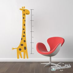 This is a very cute children's growth chart vinyl wall decal that is easy to apply and will brighten any room, especially a nursery, baby's room, kid's room, children's room, or playroom. Your child will love monitoring their growth with this cute childrens wall decal.    Each order comes with a practice decal to make sure that decals stick to your wall and to give you practice applying decals.  the decal lab