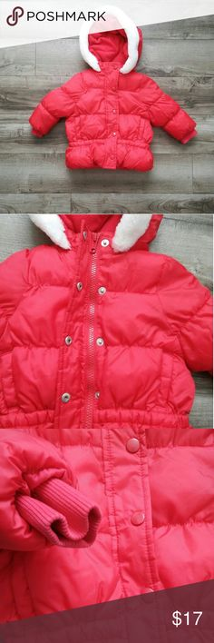 Gymboree Red Lined Coat, Faux Fur Trimmed Hood Gymboree Red Winter Coat  - Gently Used, looks BRAND New Gymboree Jackets & Coats Puffers