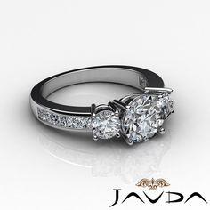 Women's Three Stone Round Diamond Engagement Ring GIA F Color SI1 Platinum 2 Ct | eBay