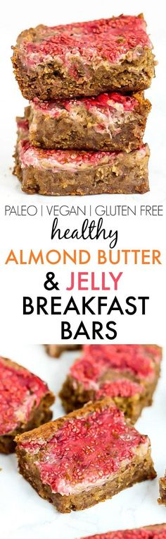 Healthy Almond Butter and Jelly BREAKFAST Bars- Fudgy and delicious baked bars made with NO butter, oil, grains or sugar, but you'd never tell! {vegan, gluten free, paleo recipe | Posted By: DebbieNet.com Almond Recipes, Dairy Free Recipes, Vegan Gluten Free, Paleo Recipes, Cooking Recipes, Paleo Vegan, Paleo Meals, Bar Recipes, Detox Recipes