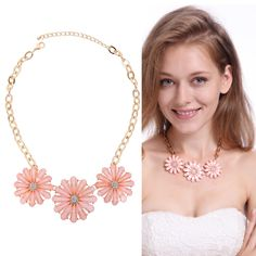Sale 17% (9.58$) - Pink Crystal Flower Pendant Necklace For Women