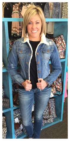 Distressed jean jacket with fur, $79.95