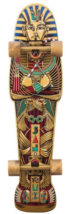 Sarcophagus Skateboard design, complete with its actual shape. This skateboard is completely designed to look like an Egyptian sarcophagus, from the complex design to the shape.