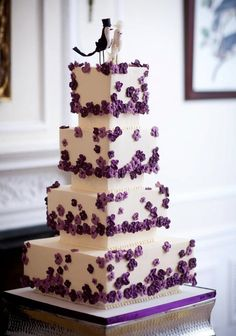Beautiful Cake Pictures: A Flutter of Tiny Purple Flowers - Colorful Cakes, Flower Cake, Wedding Cakes -