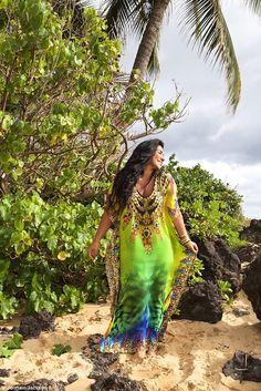 'Beach glam is all about no-fuss glamour,' says Asa. Shop a similar kaftan: Kashmir, $200; asasoltan.com