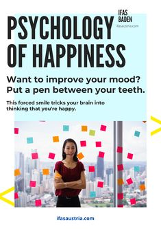 Want to improve your mood? Put a pen between your teeth. This forced smile tricks your brain into thinking that you're happy. And you'll feel happy within a few minutes. Try it out! ifasaustria.com French Course, English Course, Spanish Courses, Your Brain, Feeling Happy, Teeth, Psychology, Improve Yourself, Language