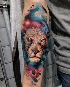 #universe #universo #espaço #space #lion #blackwork #fusion #styles #tattoo #tattoodo #tattoo2me #collective #inkjecta…