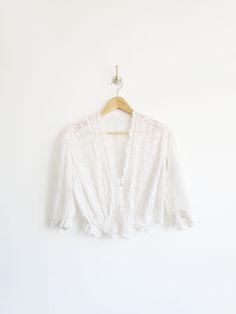 Edwardian Eyelet Blouse // Edwardian 1910's Antique Cotton Blouse SOLD
