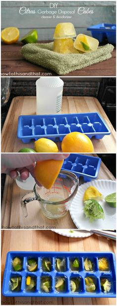 DIY Citrus Garbage Disposal Cleaner & Deodorizer. An easy, inexpensive, chemical free way to freshen up your drains and garbage disposals.