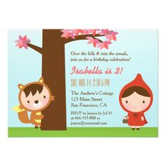 Little Red Riding Hood Big Bad Wolf Birthday Party Invites